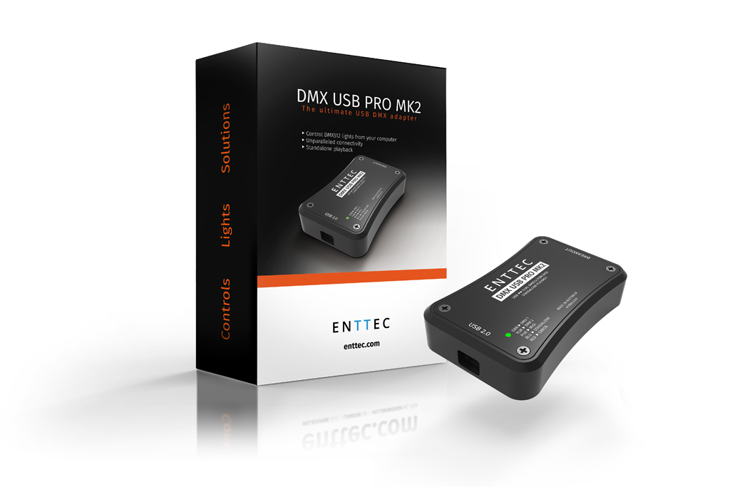 Dmx usb pro mk2 enttec optional midi connection expands your options while the standalone feature allows you to store your light show on board and play it without your computer freerunsca Gallery
